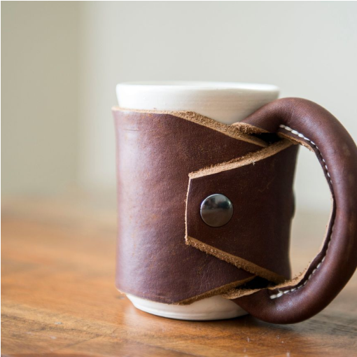 Leather mug holder