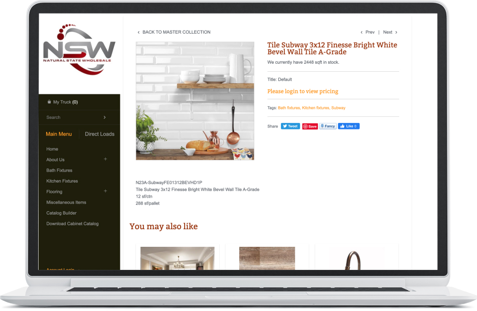 Site product page
