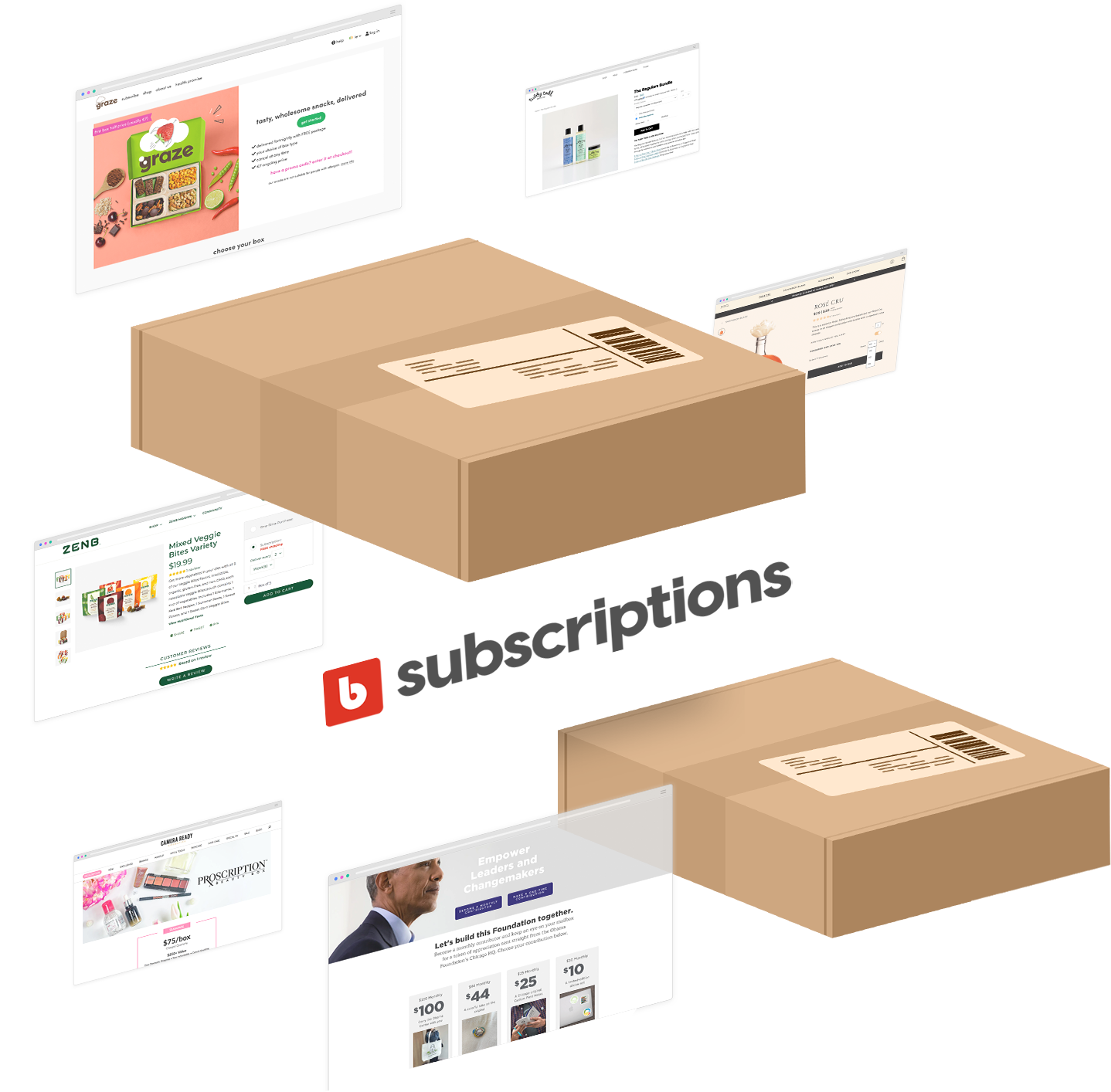 Subscriptions logo surrounded by boxes and store webpages